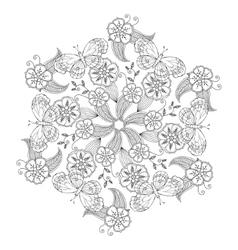 Mendie mandala with butterflies flowers and vector