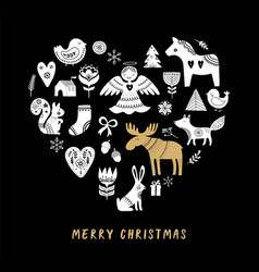 merry christmas heart-shaped black background vector image vector image
