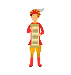 royal scribe medieval character holding a scroll vector image vector image