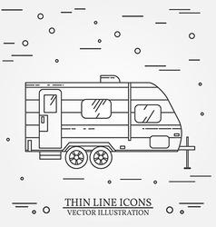 Rv camper trailer thin line camping rv trailer vector