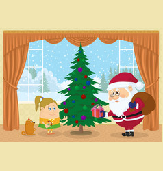 Santa claus giving presents vector