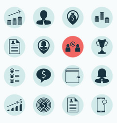 Set of 16 management icons includes curriculum vector