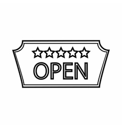 Signage of hotel open icon outline style vector