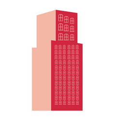 Silhouette red color with tower building vector