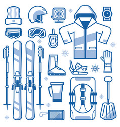 skiing equipment icons set vector image vector image