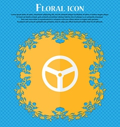 Steering wheel icon sign floral flat design on a vector