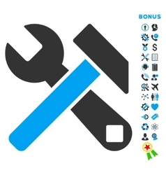 Hammer and wrench flat icon with bonus vector