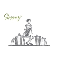 Hand drawn stylish lady sitting with shopping bags vector