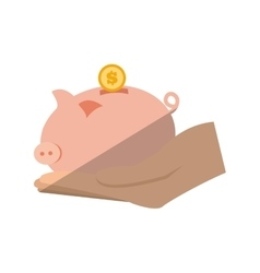 hand holding piggy coins money save flat icon vector image
