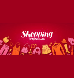 Shopping boutique banner fashion store concept vector