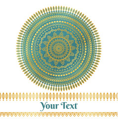 Golden and teal mandala background vector