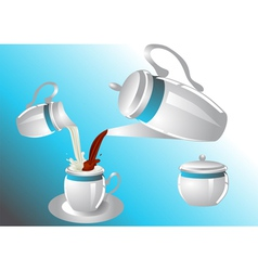 Coffee service with poorin milk vector