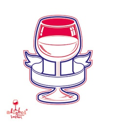 Realistic goblet of wine with simple ribbon vector