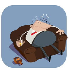 Depressed boss in armchair vector
