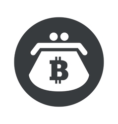 Monochrome round bitcoin purse icon vector
