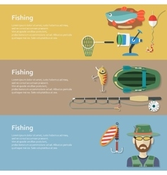 Fishing banners flat style vector