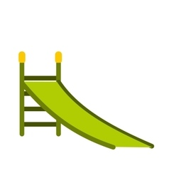 Playground green slide icon vector