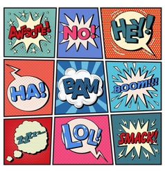 Comic bubbles set expressions pop art vector