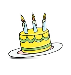 Birthday cake with three lit candles vector