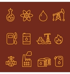 Oil and petrol industry line icon set vector