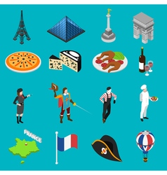 French culture traditions isometric icons vector