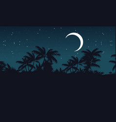 at night jungle with palm tree silhouette vector image vector image