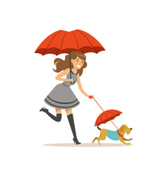 beautiful young woman with red umbrella walking vector image