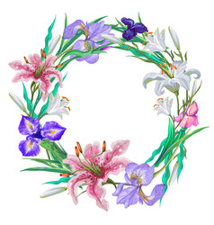 botanical lily and iris wreath frames vector image vector image