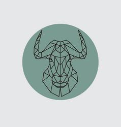 Bull mountain head in polygonal style vector