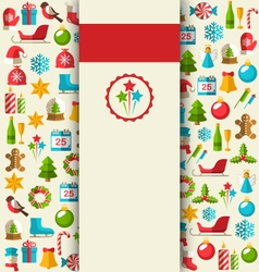 Christmas card with flat icons on beige vector