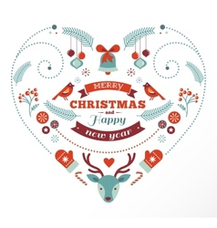 Christmas design heart with birds elements ribbons vector