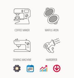 Coffee maker sewing machine and hairdryer icons vector