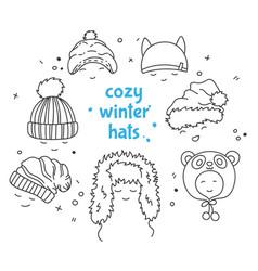 cozy winter hats vector image vector image