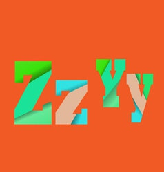 Cut into several parts within font ZY vector image
