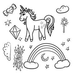 doodle unicorn rainbow stars magic wand vector image vector image