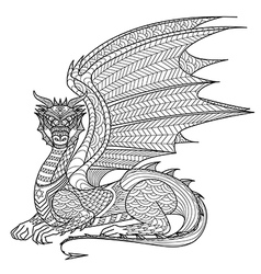 Dragon coloring page vector