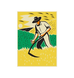 Farmer With Scythe Harvesting Field Retro vector image vector image