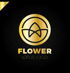 Flower lotus logo circle cosmetic or spa vector