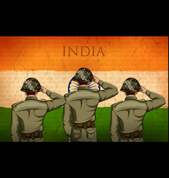 Indian army soilder saluting falg of india with vector