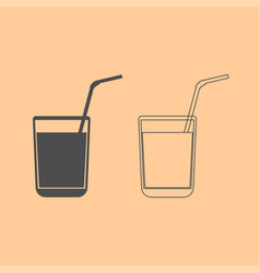 juice glass with drinking straw dark grey set vector image
