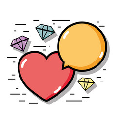 Linear diamonds with heart and chat bubble icons vector