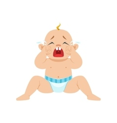 Little baby boy sitting in nappy crying out loud vector