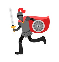Medieval amed knight character in red cape vector