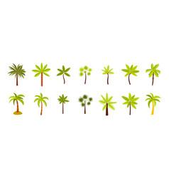 palm tree icon set flat style vector image