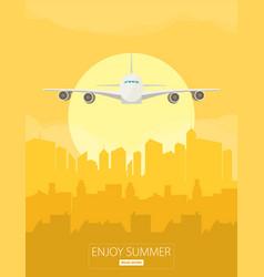 Plane flying over urban city vector