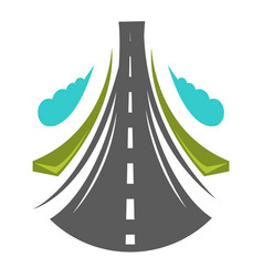 Road going straight high greenery on both side vector