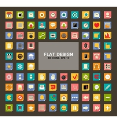 Set of 88 Universal Flat Web and Mobile Icons with vector image vector image