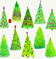 Set of Christmas trees isolated on white vector image vector image