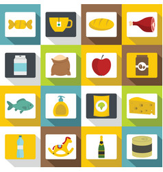 shop navigation foods icons set flat style vector image