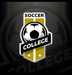 soccer college logo on a dark background vector image vector image